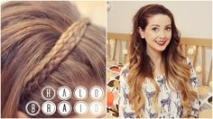 Halo Braid from Zoella My Hairstyle, Pretty Hairstyles, Braided Hairstyles, Prom Hairstyles, Zoella Hairstyles, Hairstyle Tutorials, Hairstyles Videos, Braided Updo, Makeup Tutorials