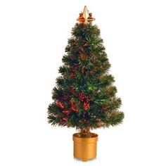 National Tree 32-Inch Fiber Optic Fireworks Evergreen Christmas Tree - BedBathandBeyond.com