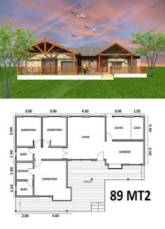 1200sq Ft House Plans, Little House Plans, Dream House Plans, Modern House Plans, Small House Plans, Modern House Design, Cottages And Bungalows, Cabins And Cottages, House Construction Plan