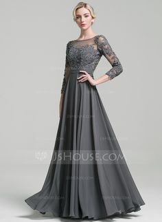 A-Line/Princess Scoop Neck Floor-Length Beading Sequins Zipper Up Sleeves Long Sleeves No Other Colors General Plus Chiffon Mother of the Bride Dress