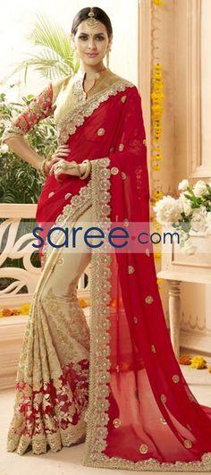 RED AND CREAM FAUX GEORGETTE SAREE WITH EMBROIDERY WORK  #Saree #GeorgetteSarees #IndianSaree #Sarees #PartywearSarees #DesignerSarees #SareeFashion