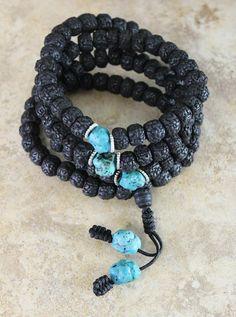 Rudraksha and Turquoise 108 Bead Mala