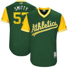 """Josh Smith """"Smitty"""" Oakland Athletics Majestic 2017 Players Weekend Authentic Jersey - Green"""