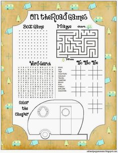 Free Road Trip Printables for Kids! Game and journaling sheets.