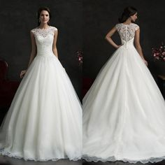 2015 Amelia Sposa Spring Fall Wedding Dresses with Sheer Crew Neck Cap Sleeves Vestidos Personalized Plus Size Button Organza Tulle Gowns Online with $139.82/Piece on Sarahbridal's Store | DHgate.com