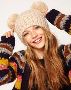 ASOS Ribbed Double Pompom Beanie
