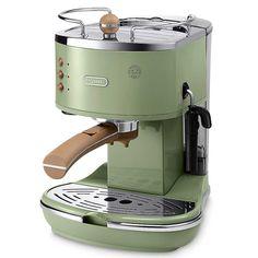 Discover the Delonghi Vintage Icona Espresso Coffee Machine - Olive Green ECOV310.GR at Amara
