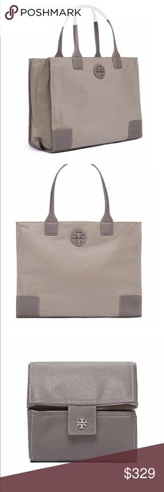 """Tory Burch Ella tote bag Tory Burch Ella Packable Tote Bag Taupe/ grey Silver toned hardware Top zip closure Approx. 8"""" handle drop Fabric lining 2 small slot pockets Dust bag not included Water-repellent nylon Drop-in zipper closure Can be folded and packed Flat leather handles with 11"""" (28 cm) drop 2 interior slit pockets Height: 12.15"""" (30.5 cm) Length: 15.74"""" (39.5 cm) Depth: 5.98"""" (15 cm) STYLE NUMBER: 41159800 Tory Burch Bags Totes"""