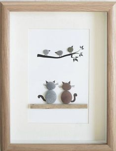 Pebble Art framed Picture Bird Watching This is a beautiful small Pebble Art framed Picture of 2 Cats watching Birds- Bird Watching handmade by myself using Pebbles and Driftwood Size of Picture incl Frame : approx. Pebble Pictures, Stone Pictures, Art Pictures, Stone Crafts, Rock Crafts, Arts And Crafts, Caillou Roche, Art Encadrée, Art Rupestre