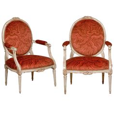 Pair of 18th C. Louis XVI Painted Armchairs | From a unique collection of antique and modern chairs at http://www.1stdibs.com/furniture/seating/chairs/