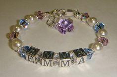 Girls Multi Color Name Bracelet  Swarovski by CrystalConnections4U, $40.00