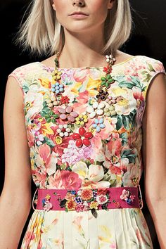 Blugirl  Too much floral; however, love the necklace! Would be so pretty on solid dress or blouse. Make necklace out of vintage flower pins?????