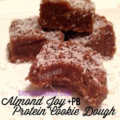 **Almond Joy Protein Cookie Dough - I LOVE this recipe, but it doesn't make 8 servings for me. I can easily it it in 3 :). Protein Powder Recipes, High Protein Recipes, Protein Foods, Protein Bars, Sweets Recipes, Healthy Desserts, Cake Recipes, Snack Recipes, Protein Cookie Dough