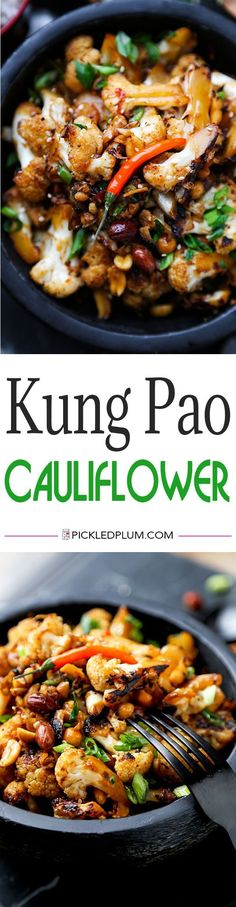 Kung Pao Cauliflower - A delicious alternative to classic Kung Pao Chicken, Kung Pao Cauliflower is just as smoky and satisfying but lower in calories and fat! Recipe, vegetables, healthy, Chinese food, cauliflower | @Pickled Plum Food and Drinks