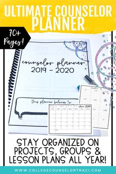 The ultimate school counselor planner will keep you organized all year long including individual and group counseling pages, lesson planner, weekly, monthly calendars and more! Features soft colors for ink-saving printing! Counselor Office, High School Counseling, Group Counseling, Back To School Activities, School Resources, School Fun, Human Resources, Physical Education Games, Health Education