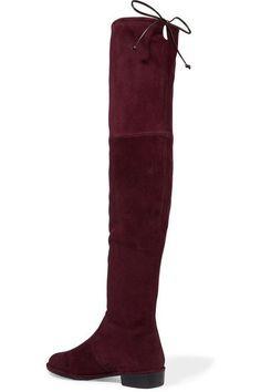 Stuart Weitzman - Lowland Suede Over-the-knee Boots - Burgundy - IT40.5