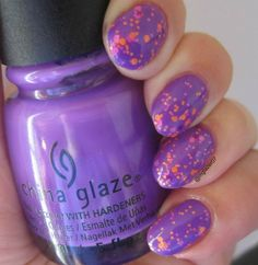 "China Glaze's ""Plur-ple,"" topped with ""Let the Beat Drop."""