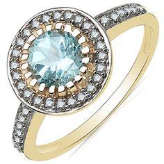 Malaika 10k Yellow Gold Aquamarine and 1/5ct TDW Diamond Ring (J-K, I2-I3)