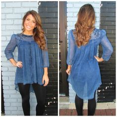 NEW ARRIVAL FROM IVY JANE! We are absolutely in ️ with this denim high-low tunic by Ivy Jane! Available in store or online! www.shopcocobella.com #ivyjane #tunic #denim #shopcocobella #shopping #cocobellagirl #boutique #fashion #fallfashion