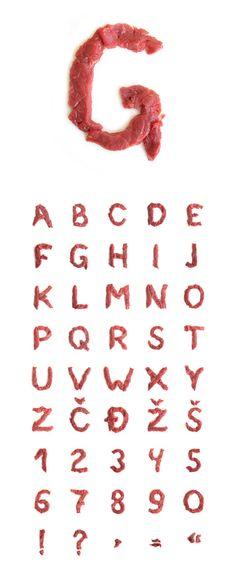 meat alphabet letter font food fooddesign