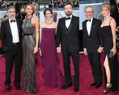 2013 Oscar Red Carpet - From left, George Clooney in Giorgio Armani and Stacy Keibler in Naeem Khan, Ben Affleck in Gucci and Jennifer Garner in Gucci, and Steven Spielberg in Dior Homme and Kate Capshaw.