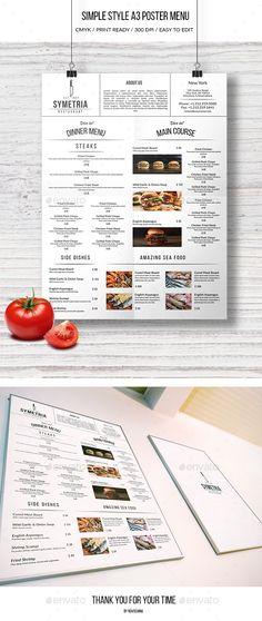 Minimal Food Menu Pack Food menu, Minimal and Templates - free printable restaurant menu template