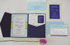 invitations, light blue, light green, modern , navy blue, stripes, violet, white, damask, Summer, whimsical-bright, wedding, San Diego, California