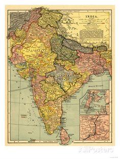 India - Panoramic Map Kunstdruk