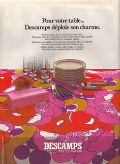 Mod •~• vintage Descamps tablecloth advertisement, 1970