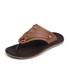 0aea744b5 Men s Flip Flops Leather Beach Sandalias De Plataforma For Male Platforms  Slipper Dark Khaki Light Brown Size 36 37 38 to 45 46