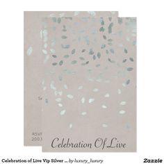 Celebration of Live Vip Silver Pastel 9 Cm X 13 Cm Invitation Card