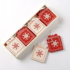Box of 12 Traditional Vintage Style Red/Cream Wooden Present Box Shapes Christmas Tree Decorations: Amazon.co.uk: Kitchen & Home