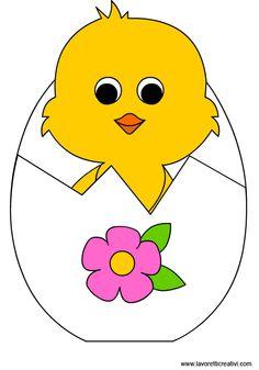 BIGLIETTO DI PASQUA Sagoma utile per realizzare con i cartoncini un biglietto a forma di uovo con pulcino da regalare ai vostri cari il giorno di Pasqua.