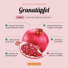 Pomegranates not only look beautiful, they are also real health miracles. How do you like to eat it? Superfood, Healthy Life, Healthy Eating, Grenade, Sprout Recipes, Nutrition, Food Facts, Eat Smarter, C'est Bon