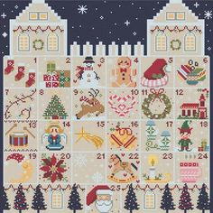 An awesome Christmas advent calendar cross stitch pattern that is suitable for stitchers at every level!