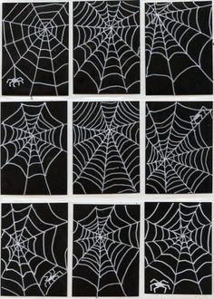 Art Trading Cards Art Projects for Kids: Spiderweb Art Trading Cards. White poster marker on black scrapbook paper.Art Projects for Kids: Spiderweb Art Trading Cards. White poster marker on black scrapbook paper. Halloween Art Projects, Theme Halloween, Fall Art Projects, Projects For Kids, Halloween Drawings, Halloween Nails, Art Plastique Halloween, Spider Web Drawing, Art Trading Cards