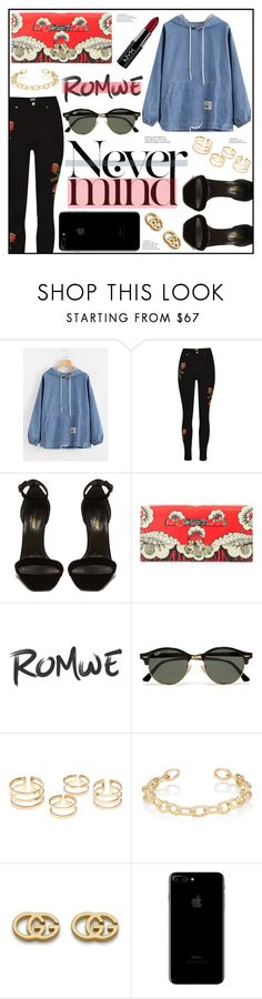 """Never Mind"" by piloariass on Polyvore featuring moda, Yves Saint Laurent, Valentino, Ray-Ban, Jennifer Fisher, Gucci y NYX"