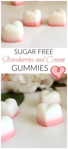 When you are an (ex) sugar addict like me you are constantly searching for delicious sugar free sweet treats.  And these sugar free strawberries and cream gummies are GOOD.  I'm talking seriously good.  Creamy and sweet and totally healthy, these sugar free gummies tick all the right boxes.  Plus, they contain gelatine which is great for digestive health. Perfect for Valentine's day!