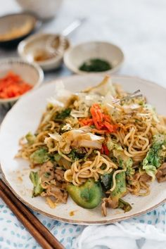 Yakisoba (Japanese Stir-Fried Noodle) 焼きそば Sizzling delicious yakisoba made at home with your frying pan. Follow the post to learn how to make it with this easy recipe and tips. #yakisoba, #Japanesefriednoodle, #friednoodle #stirfriednoodles #yakisobarecipe Japanese Noodle Dish, Japanese Dishes, Easy Japanese Recipes, Asian Recipes, Ethnic Recipes, Asian Foods, Oriental Recipes, Japanese Street Food, Japanese Food