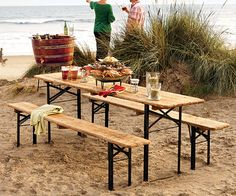Don't live on the beach, but this beer garden table set will do for my backyard!