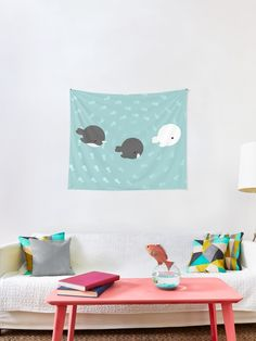 """""""Arctic whales"""" Tapestry by demonkourai Boston Apartment, Whales, Tapestries, Arctic, Kids Rugs, Unique, Home Decor, Hanging Tapestry, Decoration Home"""