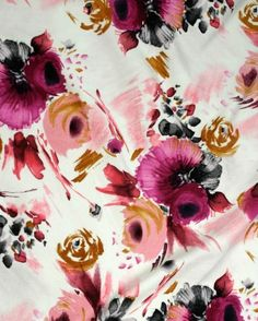 Cotton Velvet Print - Pink Floral  pinned with #Bazaart - www.bazaart.me