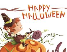 Just a small but cute and colorful illustration of a little boy happily riding his halloween pumpkin surrounded by autumn bits like mushrooms and acorns. Halloween 2019, Happy Halloween, Halloween Pumpkins, Tigger, New Work, Little Boys, Appreciation, Behance