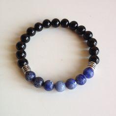 Confidence Boost - Men's Genuine Sterling Silver Sodalite & Black Onyx Bracelet - Positive Energy