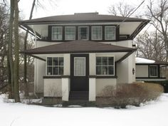 """Frank Lloyd Wright"" House~1905 Prairie Style Designed for ""Mary Adams"" in Highland Park, MI."