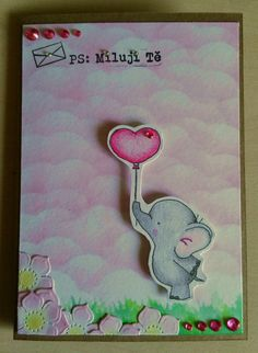 Pro zamilované ♥ #love #laska #lawnfawn #elephant #heart #flower #pink #psmilujite #prozamilovane #cardmaking #papercard #valentinecard #prani