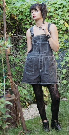71ea1e41b6500f Reserved For M Womens 90s Grunge BLACK Denim Bib Overall Shorts  Womens  Shortalls  Jean OVERALL SHORTS
