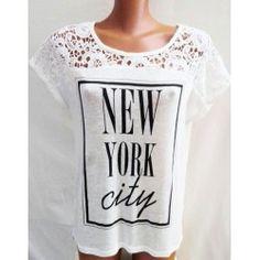T Shirt maglietta bianca New York city con pizzo donna TAGLIA L