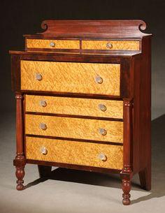 "Federal Cherry bureau Pennsylvania, circa 1820, 57-1/2"" H. x 43"" W. x 19-1/2"" D."