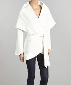 Look at this Cream Tie-Waist Wrap Jacket on #zulily today!